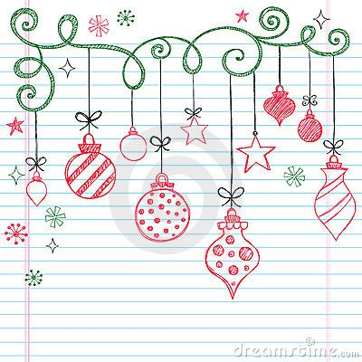 400x400 Hand Drawn Sketchy Doodle Christmas Ornament By Blue67, Via