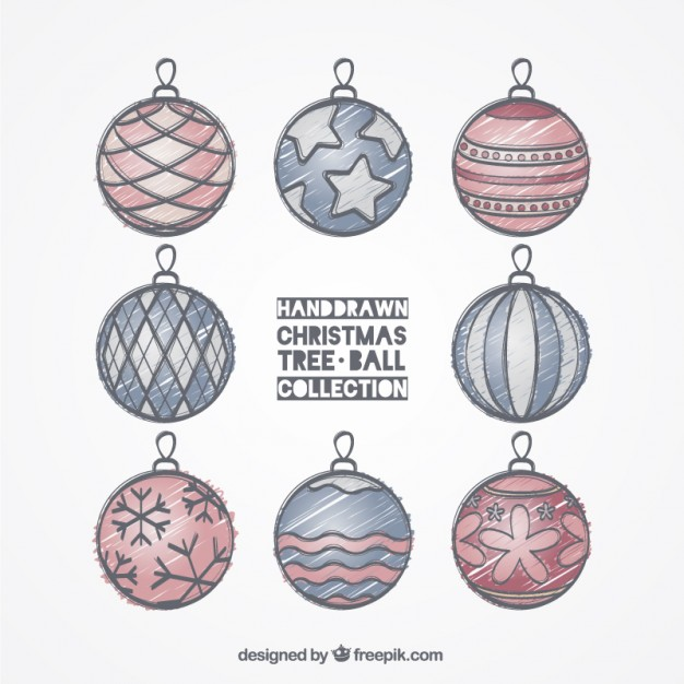 626x626 Hand Drawn Christmas Tree Balls Collection Vector Free Download