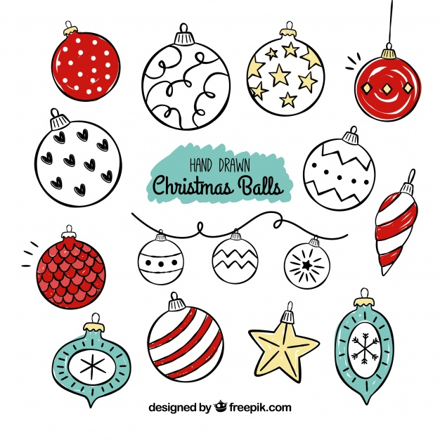 626x626 Set Of Vintage Christmas Ball Drawings Vector Free Download