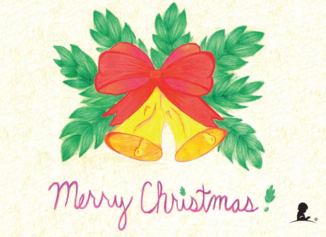 1100x800 Merry Christmas Bells Drawing