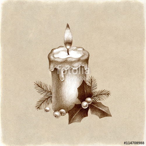 500x500 Christmas Candle. Pencil Drawing Stock Photo And Royalty Free