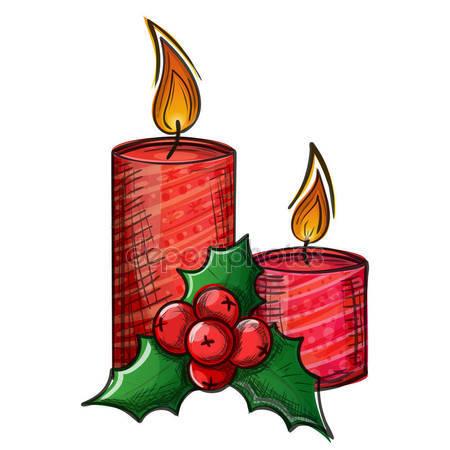 450x450 Drawing Of Christmas Candle Stock Vector Sonya Illustration