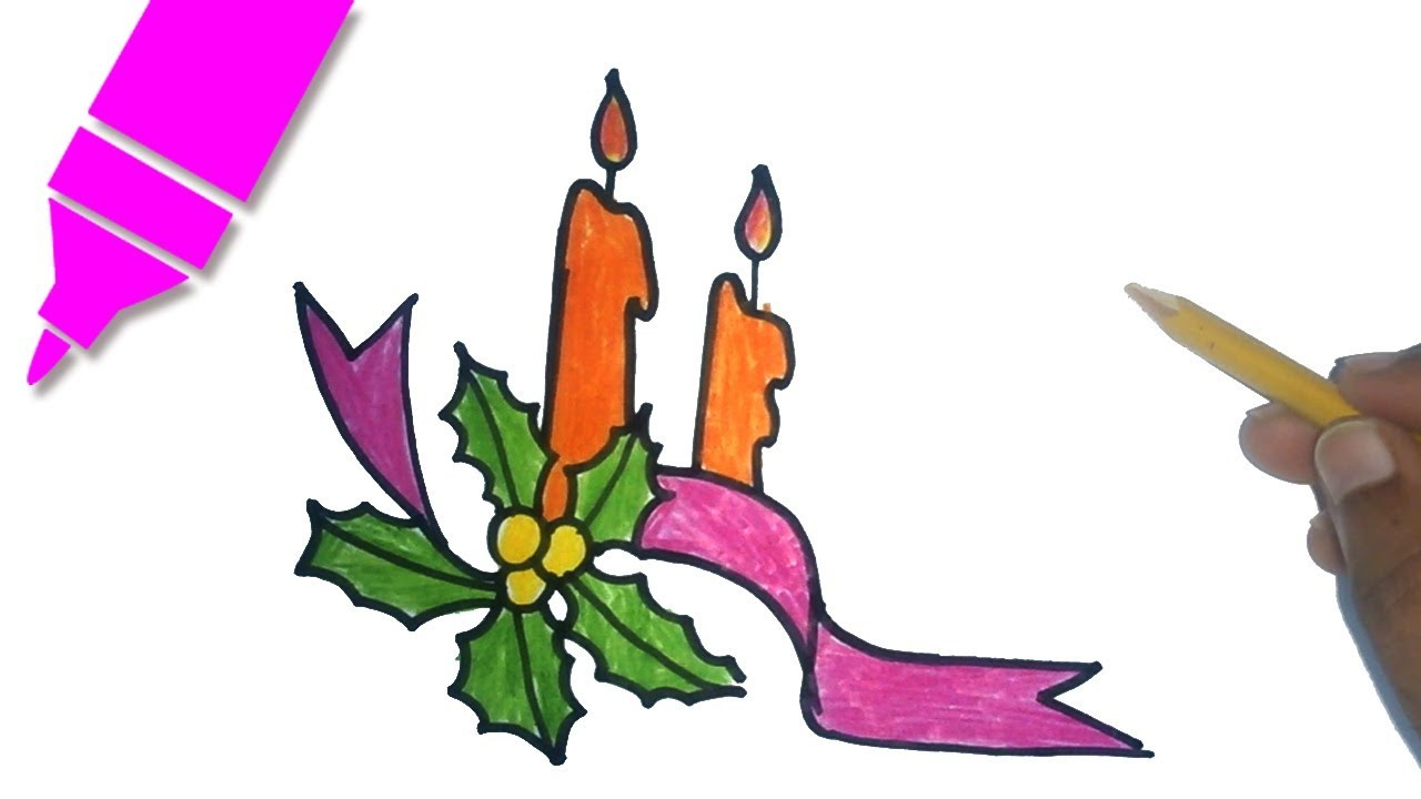 1280x720 How To Draw A Christmas Candle Christmas Candle