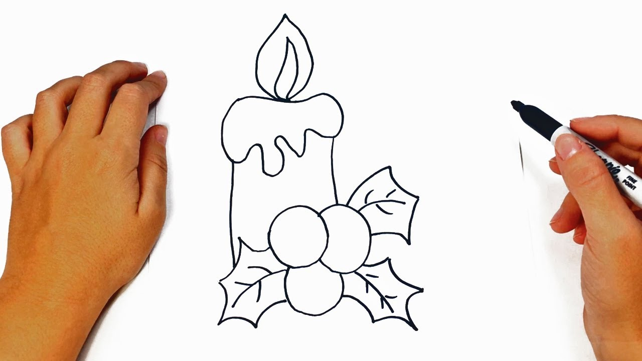 1280x720 How To Draw A Christmas Candle Step By Step Easy Drawings