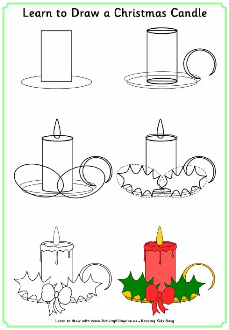460x663 Learn To Draw A Christmas Candle Christmas Amp Winter Drawing