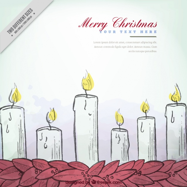 626x625 Background Of Hand Drawn Christmas Candles Vector Free Download