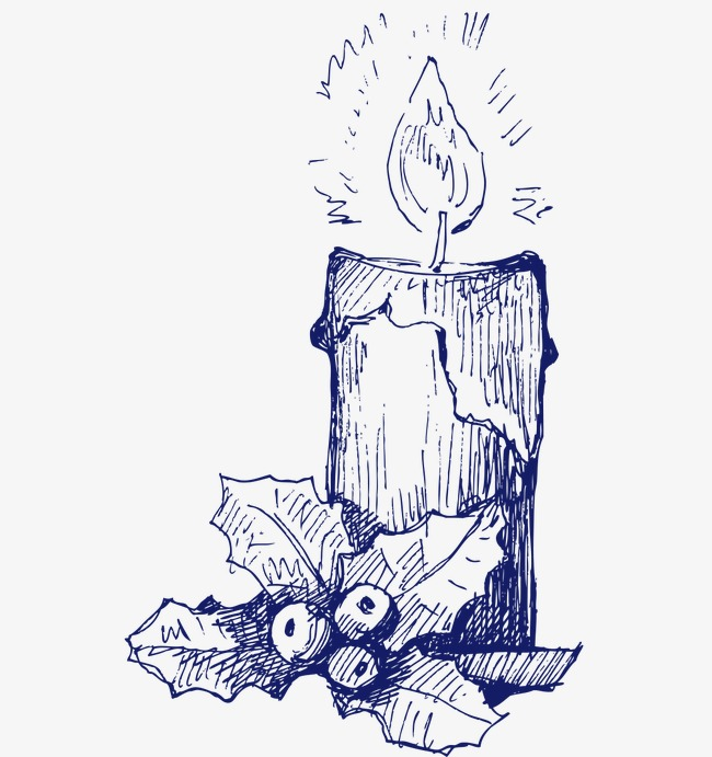 650x691 Christmas Candles, Hand Painted, Ballpoint Pen Drawing Png Image