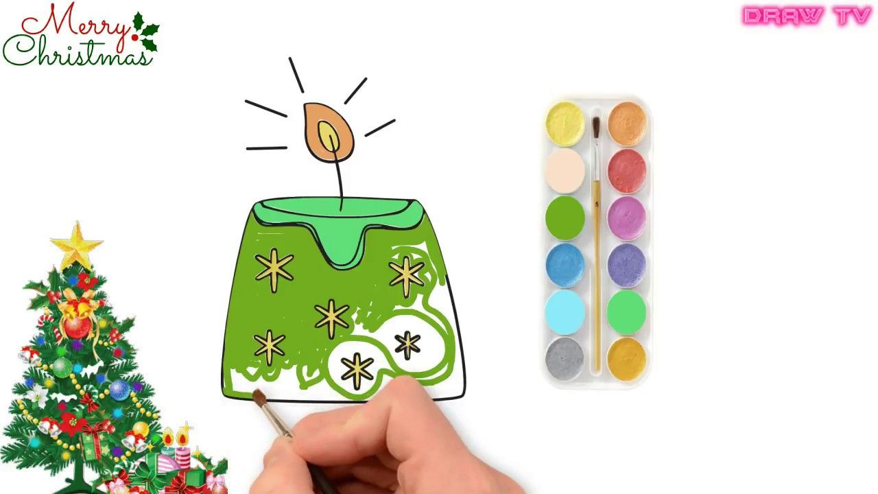 1280x720 How To Draw Christmas Candle Step By Step For Kids Christmas