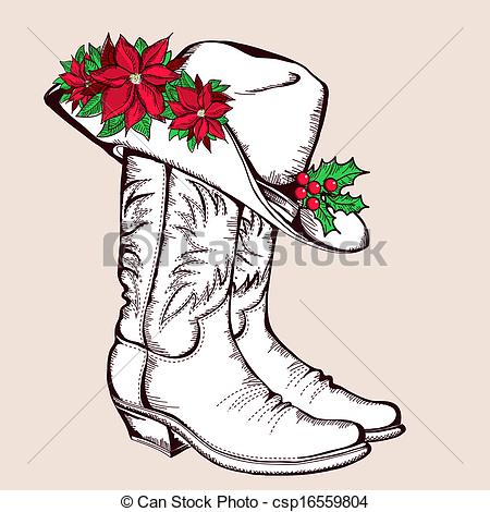 450x470 Cowboy Christmas Boots And Hat.vector Graphic Illustration