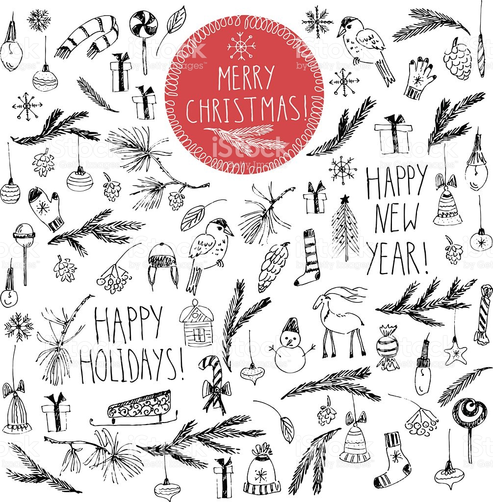 1005x1024 Hand Drawn Christmas Ornament Drawing Merry Christmas Amp Happy