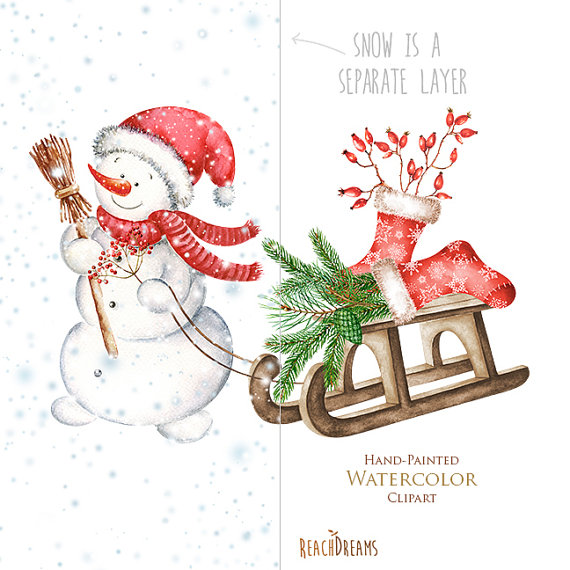 570x570 Snowman Watercolor Christmas Clipart Holiday Winter By Reachdreams