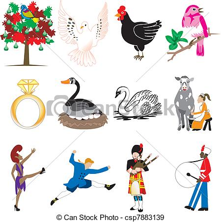450x452 Vector Illustration Card Of The 12 Days Of Christmas Icons Eps