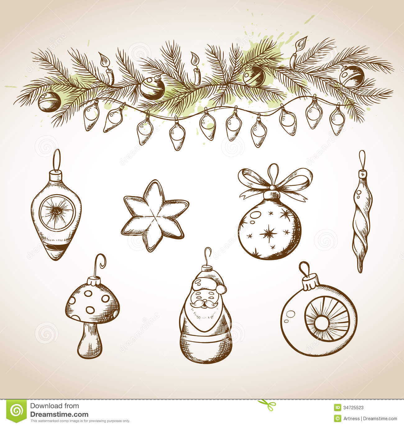 1300x1372 Vintage Christmas Ornament Drawing Merry Christmas Amp Happy New