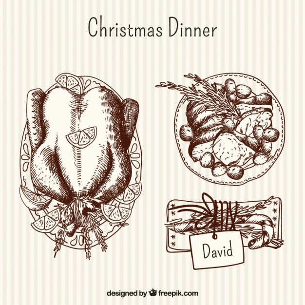 626x626 Hand Drawn Delicious Christmas Dinner Vector Free Download