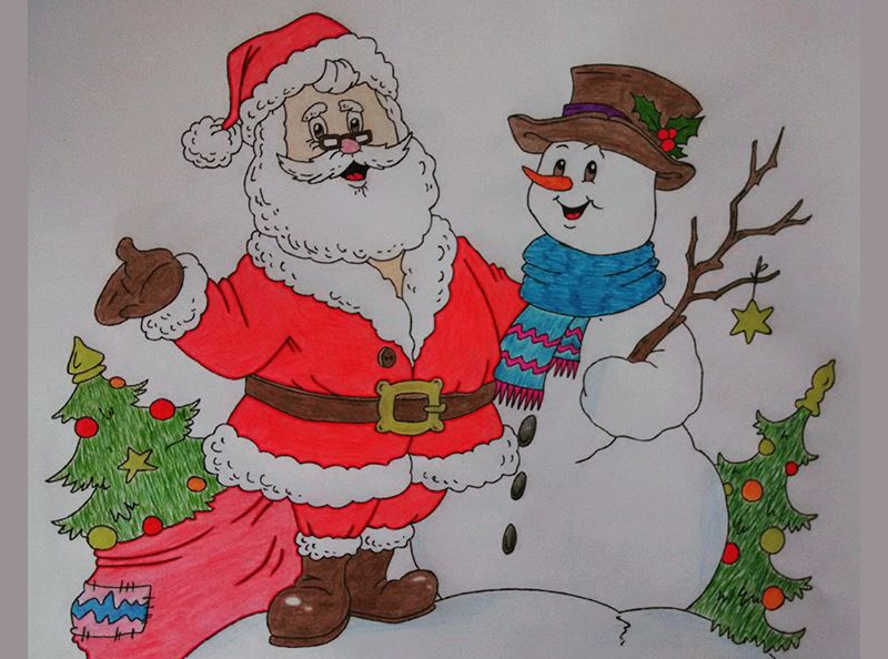 800x594 Christmas Pencil Drawings Free Amp Premium Templates
