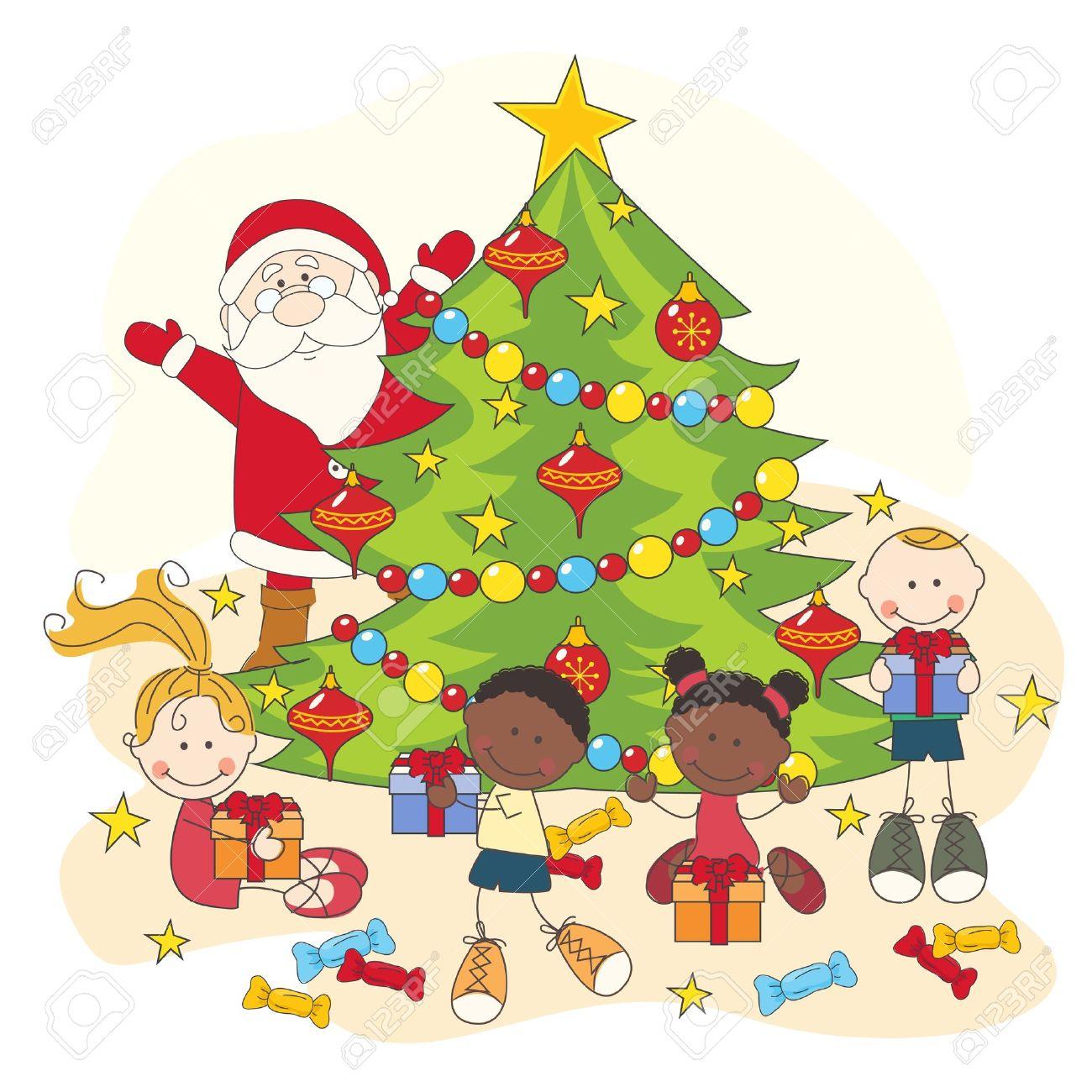 1300x1300 Christmas Celebration. Santa And Children. Hand Drawing