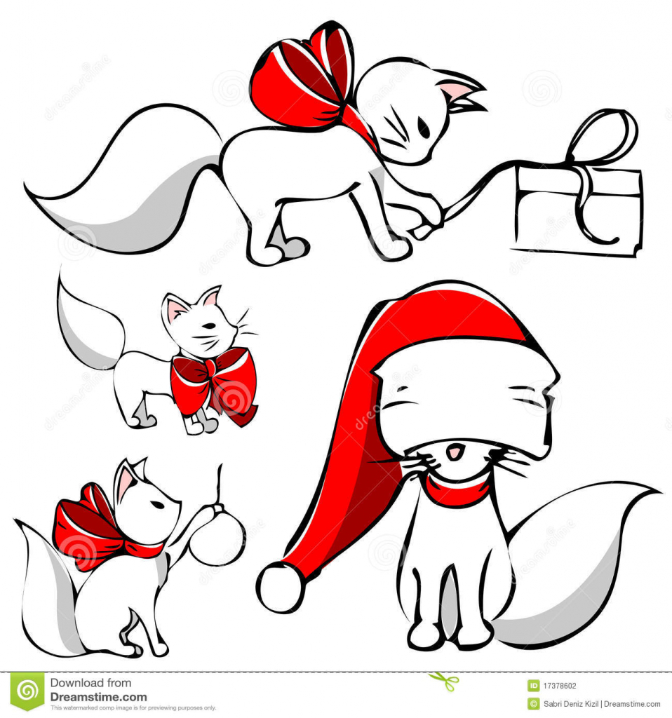 958x1024 Cute Christmas Drawings Cute Christmas Cat Clipart