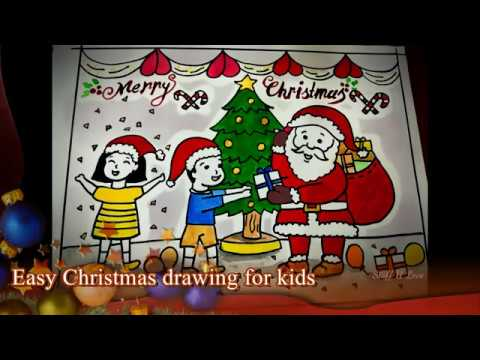 480x360 Easy Christmas Festival Drawing Kids Receiving Gifts From Santa
