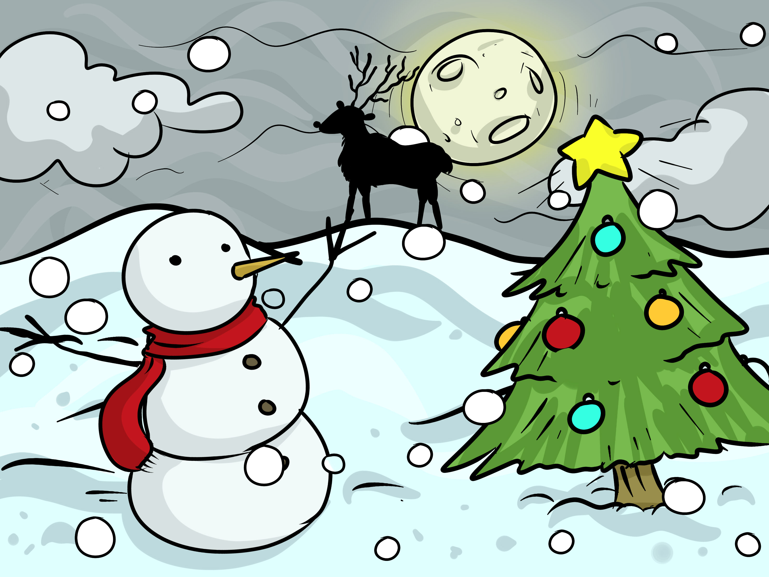 3200x2400 How to Draw a Christmas Landscape 12 Steps (with Pictures)