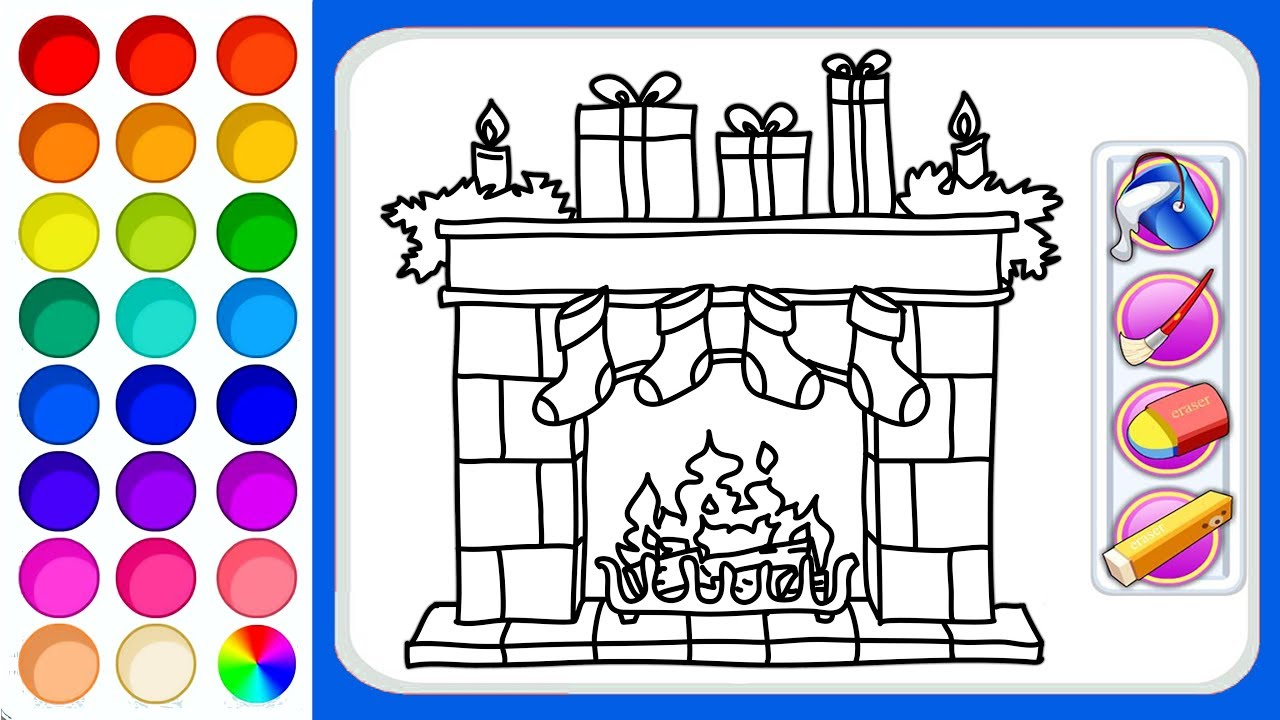 1280x720 Christmas Fireplace Drawing And Coloring Pages How To Draw