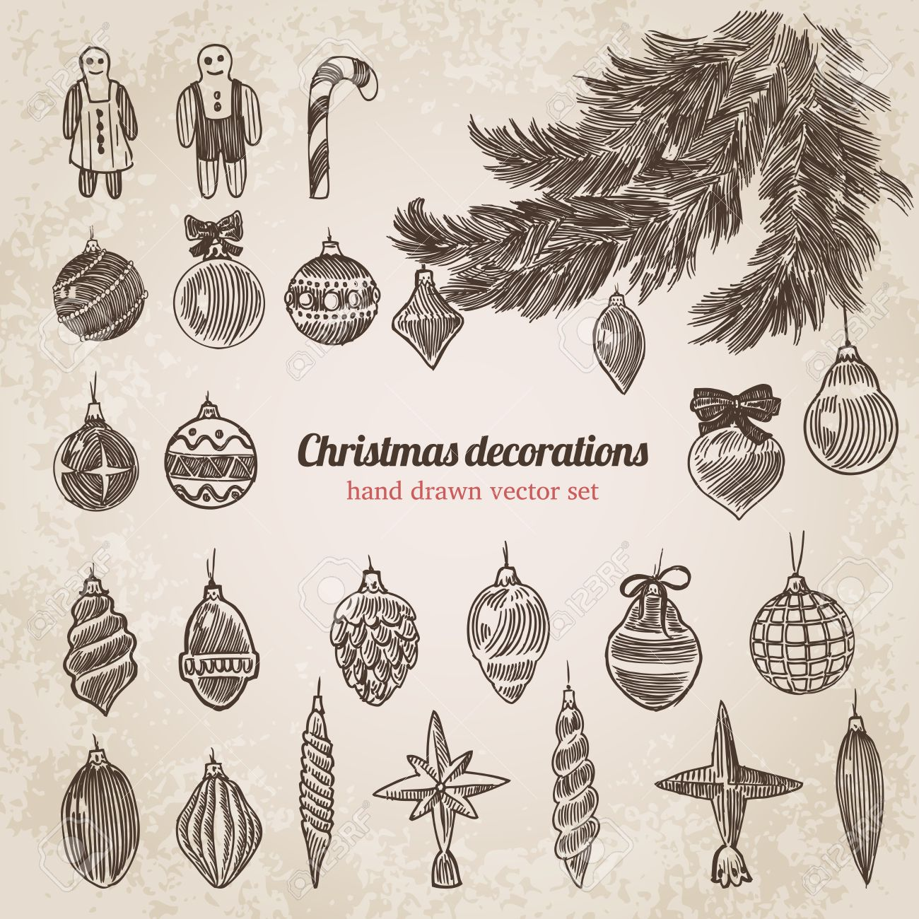 1300x1300 Christmas Tree Decorations Set New Year Handdrawn Engraving Style