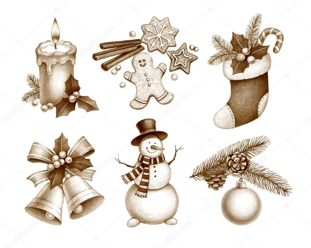 1024x819 Pencil Drawings Of Christmas Decorations Stock Photo Sashsmir