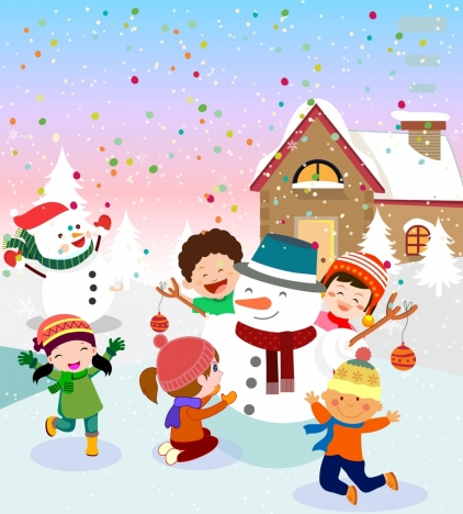 422x468 Christmas Drawing Joyful Kids Snowman Icons Colored Cartoon