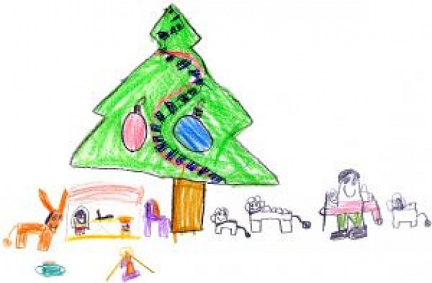626x411 Kids Drawing Of Christmas Scenery Photo Free Download