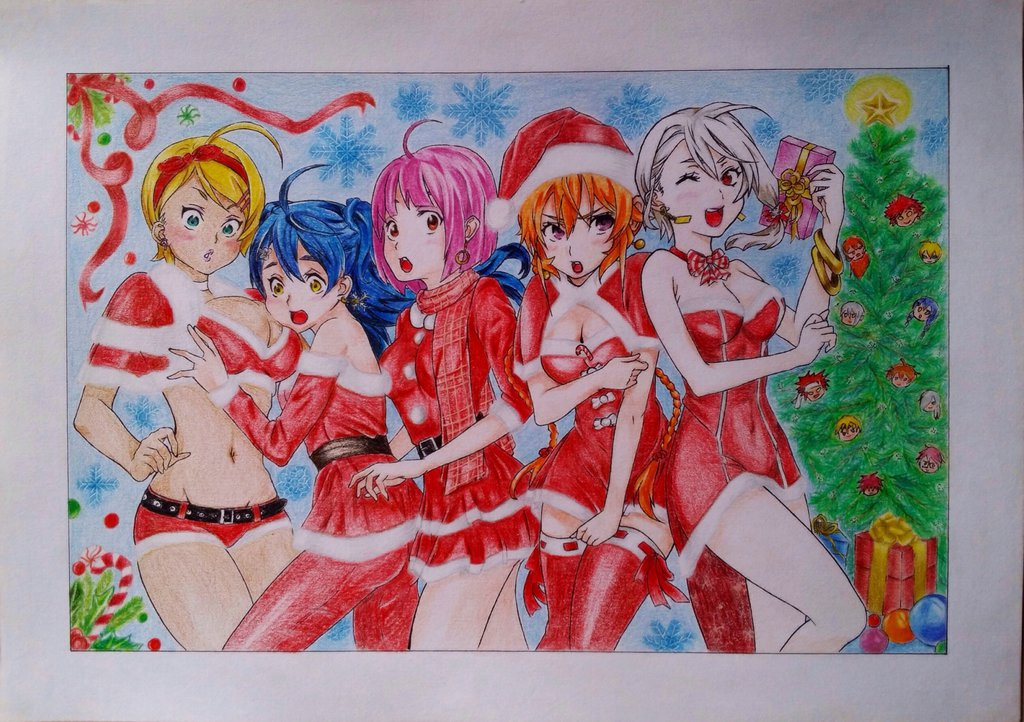 1024x722 Shokugeki No Soma Christmas Drawing By Daps11