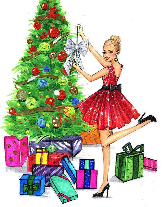 576x720 Christmas Art,christmas Gift, Holiday Illustration,gift For Her