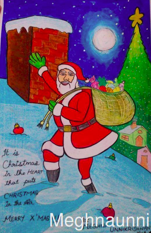 519x800 Merry X'Mas Santa Claus Painting Done By Me