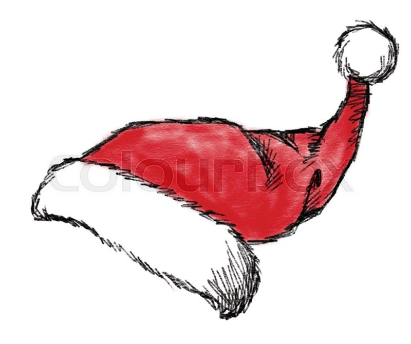 800x670 Hand Drawn Christmas Hat On White Background Stock Vector