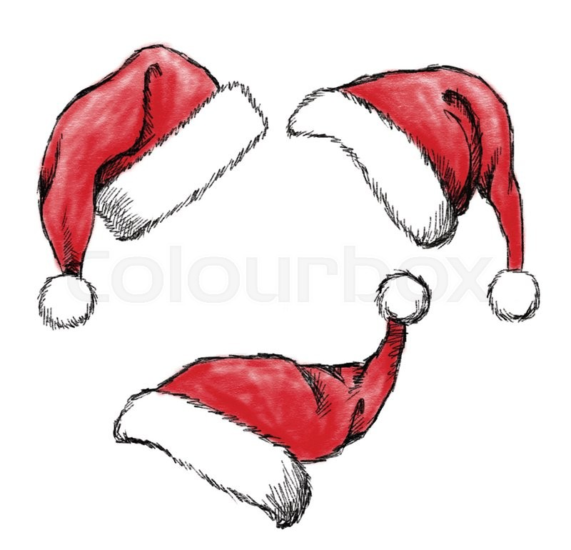 800x770 Set Of Hand Drawn Christmas Hat On White Background Stock Vector