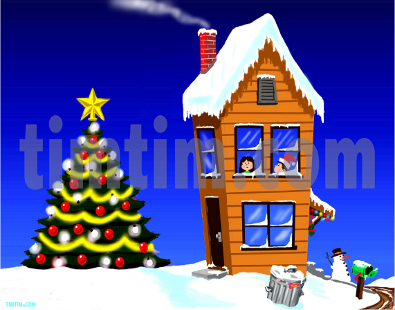 571x447 Free Drawing Of Country Christmas House From The Category