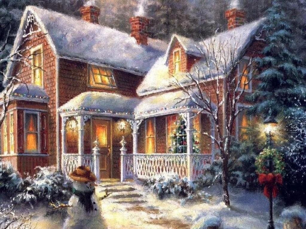 1024x768 Winter Holiday House Snow Christmas Drawing Winter Xmas Wallpaper