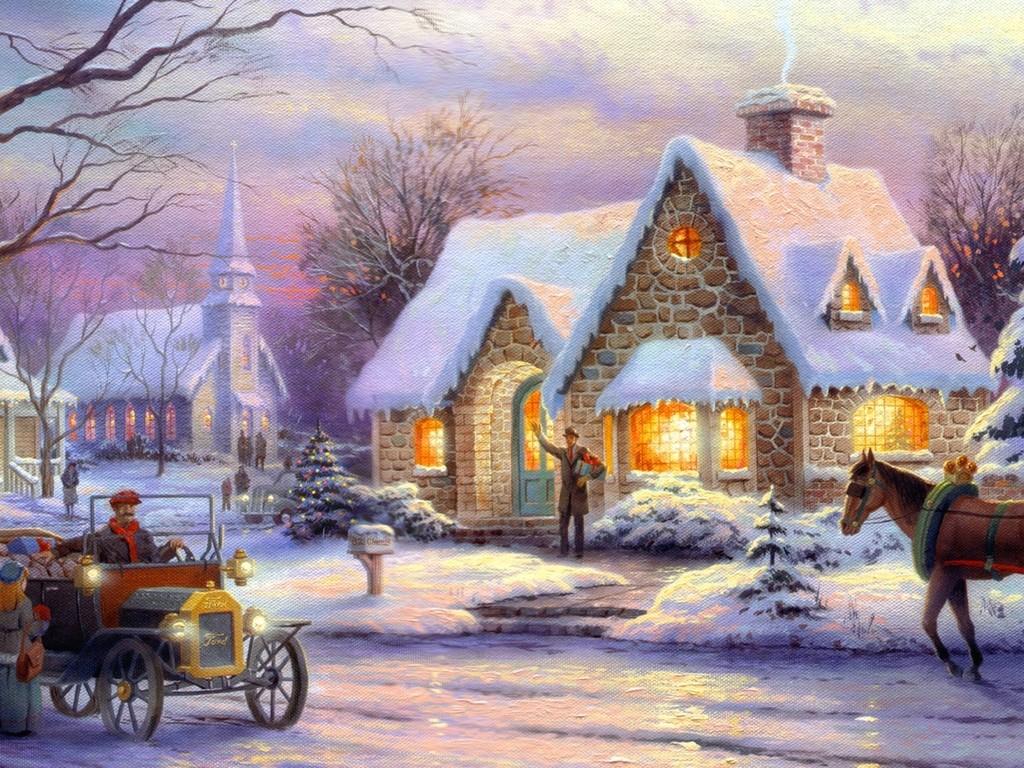1024x768 Winter Time Ice Tree House Art Christmas Snow Painting Nature