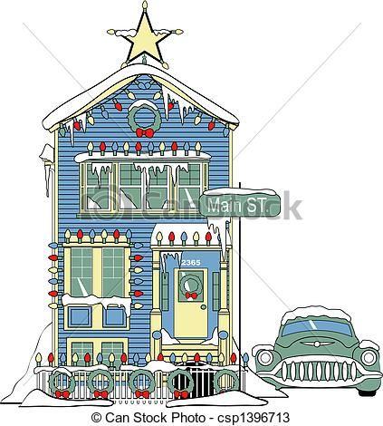 423x470 Christmas House Illustration