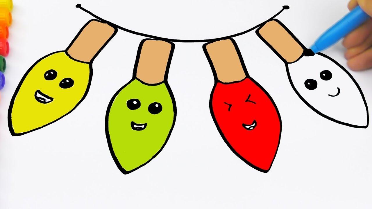 1280x720 Easy Christmas Light Bulb Drawing Christmas Coloring Page