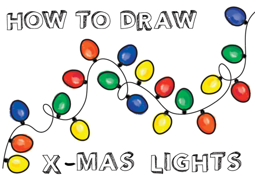 500x353 How To Draw And Paint Color Christmas Lights For Kids