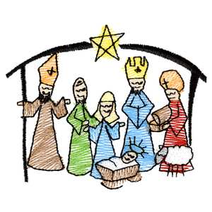 300x300 Simple Nativity Drawing Merry Christmas Amp Happy New Year Arts