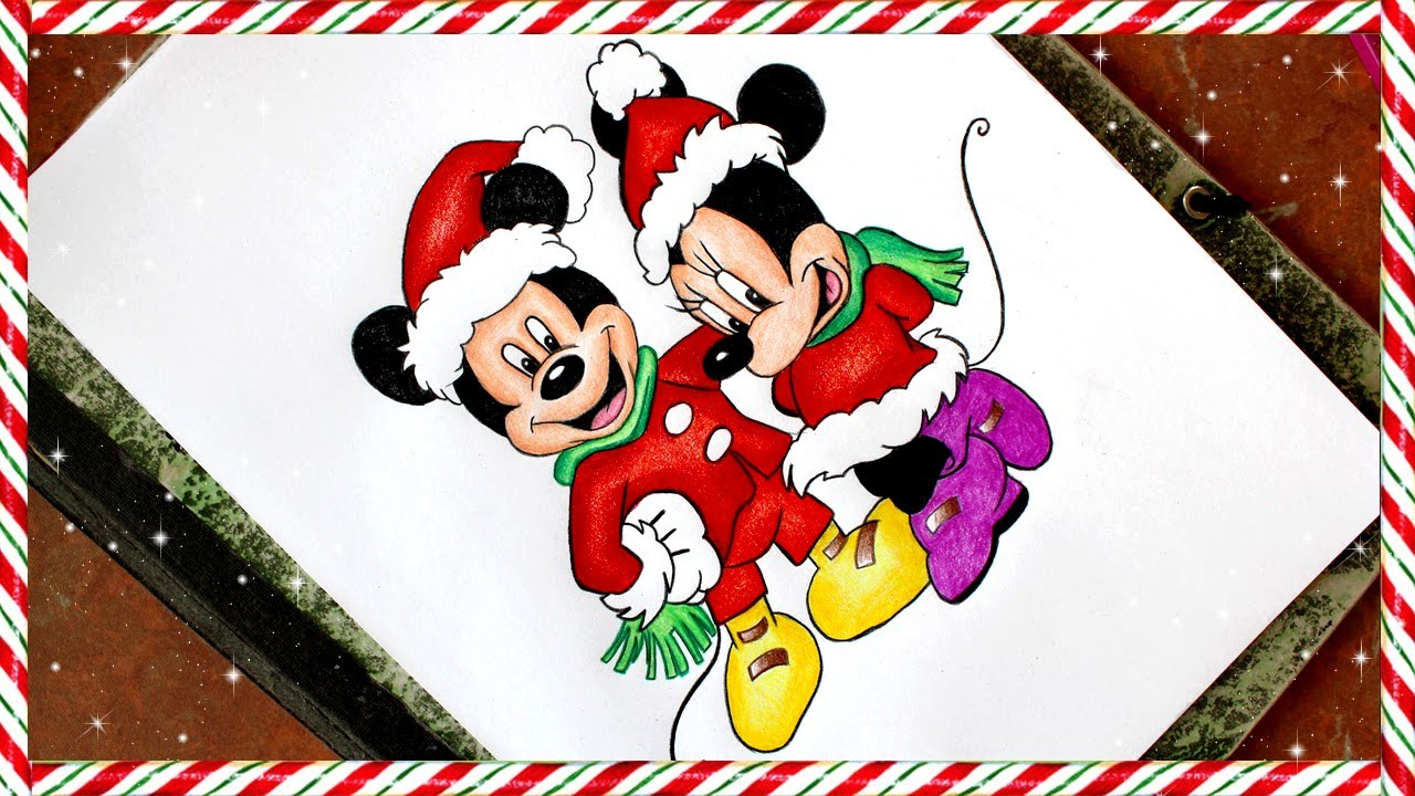 1280x720 Mickey And Minnie Mouse Christmas Drawing