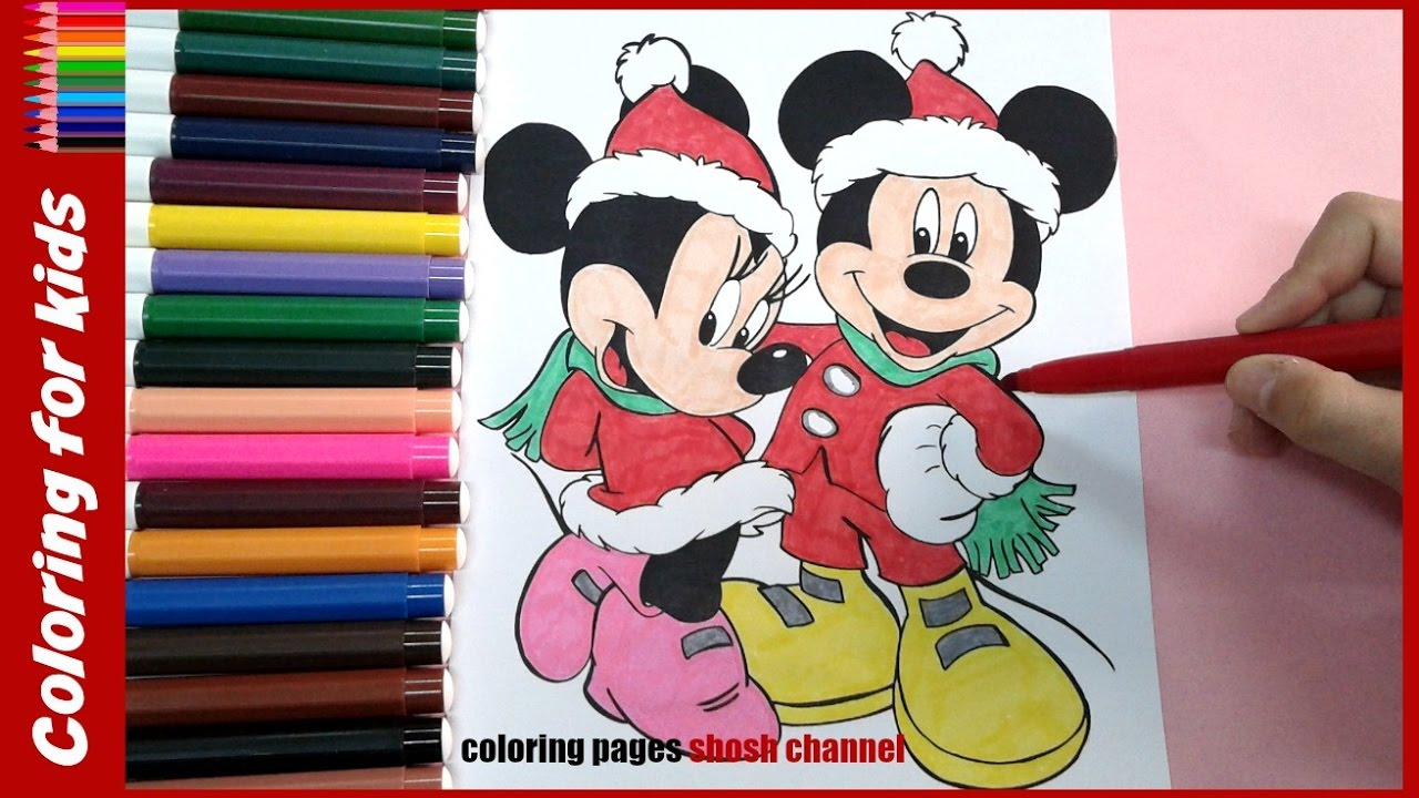 1280x720 Disney Christmas Coloring Pages ( Minnie Mickey Mouse )