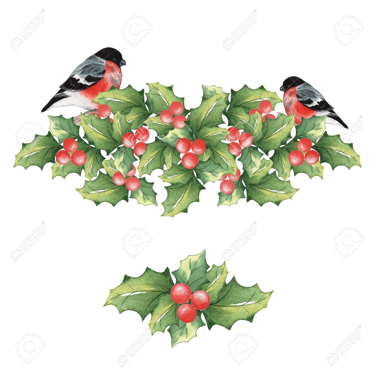 1300x1300 Christmas Mistletoe With Bullfinches 2. Watercolor Background