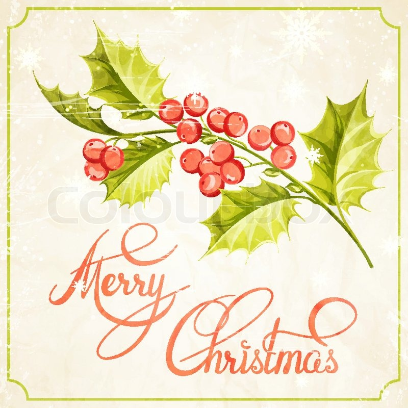 800x800 Christmas Mistletoe Branch Drawing With Holiday Text. Vector