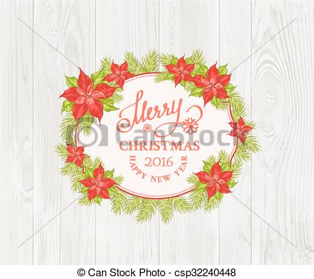 450x400 Christmas Mistletoe Branch Frame Drawing With Holiday Text Eps