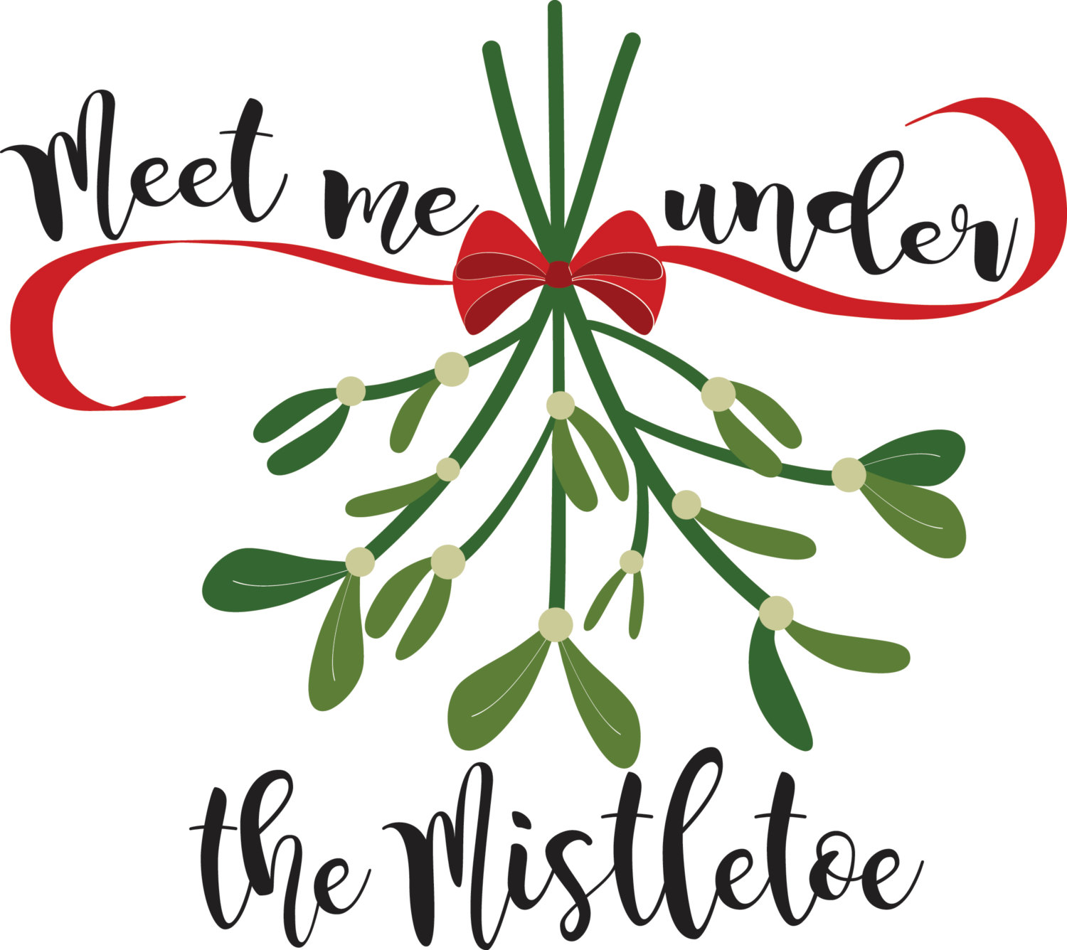 1500x1336 Cute Christmas Mistletoe Svg Design From One Oak Designs Cameo