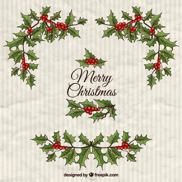 626x626 Hand Drawn Christmas Mistletoe Background Vector Free Download