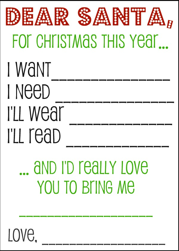 600x840 Christmas Wish List Santa Letters And Gift Tags Kids S, Santa
