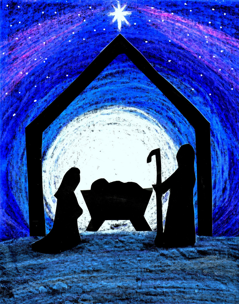 805x1024 Child Of Peace Cut Out Nativity Scene Silhouetted Against