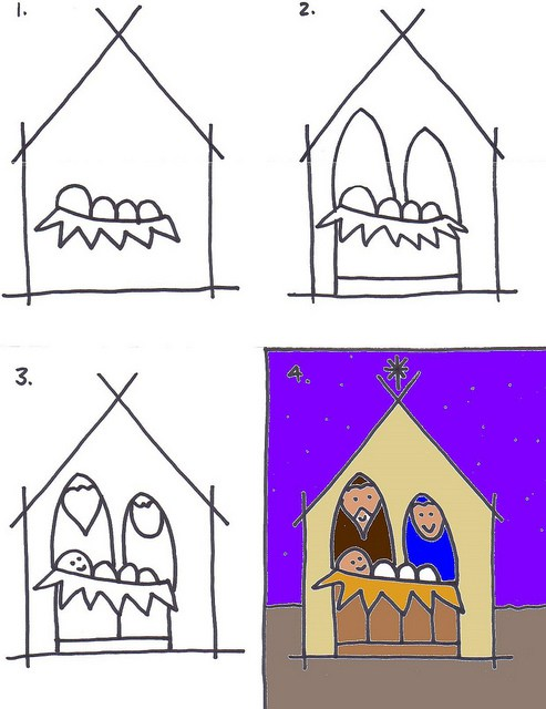 493x640 Drawing A Nativity Scene For Kids Simple Nativity, Christmas